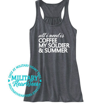 All I need is my Soldier Racerback Tank Top, Army shirt, Army tank top, Army wife shirt, Army Girlfriend shirt, Army workout, Military shirt