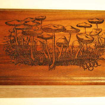 Engraved Wooden Mushroom Jewelry Box , Mushroom patch field Wooden , Nature , Custom artwork available