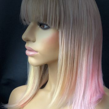 Dirty Blonde Ombre Multi Color Wig with Choppy Bangs