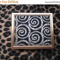 ON SALE Vintage Compact & Black Swirl Photo Frame Mid Century Collectible Vanity Home Decor Display Gift For Her