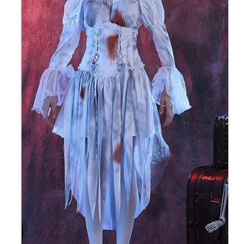 White Patchwork Irregular Grenadine Tie Dye Lace-up Off Shoulder Halloween Midi Dress