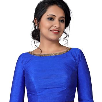 Royal Blue Raw Silk Long Sleeve Saree Blouse SNT-X-458-SL