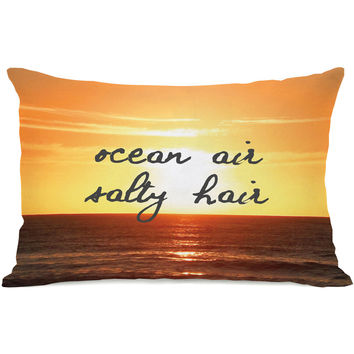 """Ocean Air, Salty Hair"" Indoor Throw Pillow by OneBellaCasa, 14""x20"""
