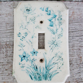 Light Switch Cover Cottage Chic Lightswitch Cover Floral Light Switch Cover Boho Light Switch Plate Vintage Resin Switch Cover