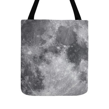 Moon Tote Bag, Fashion Bags, Gray Color, Space Photography, Night Texture, Modern Pattern, Minimalist Art, Elegant Classic Totes, Chic Style