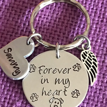 Pet Memorial Jewelry - Dog Memorial Keychain - Pet Loss Gift - Forever in my Heart - In Memory of Dog. Personalized Dog Remembrance