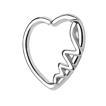 BodyJ4You 16G (1.2mm) Daith Earring Heart Silvertone Helix Earring Cartilage Hoop Body Piercing Jewelry