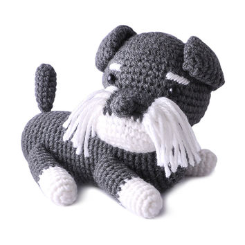 Dark Gray Dogs Handmade Amigurumi Stuffed Toy Knit Crochet Doll VAC