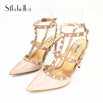 Stkehidba Women Pumps Pointed Toe High Heels Fashion Women Shoes Rivets Pumps Genuine Leather Ankle Strap High Heel Shoes 33-43