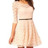 Uoften Sexy Spoon Neck 3/4 Sleeve Lace Skater Dress Belt, Beige