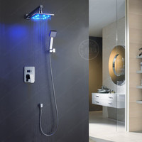 8-10-12-16 Inch Led Brass Bathroom Rainfall Led Shower Faucet Mixer Tap Set W/ Copper Shower Head Home Improvement