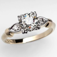 1 Carat Old European Cut Diamond Antique Engagement Ring