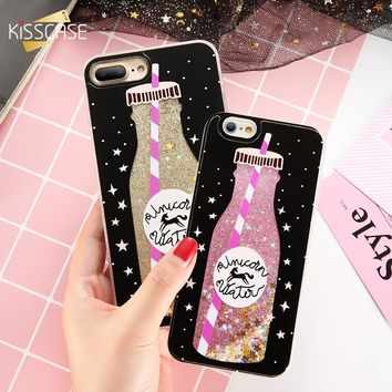 KISSCASE Glitter Quicksand Case For iPhone 7 6 6S Plus CoverSunshine Sequin Fundas For iPhone X 10 Silicon Shell For iPhone 8