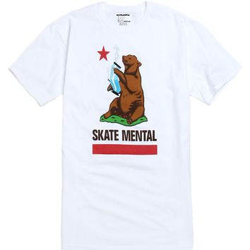 Skate Mental Bear Bong T-Shirt - Mens Tee - White