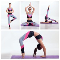 Contrast Color Women Running Pants With Sports Set Yoga Suits Fitness Bra Vest Tracksuit Sportswear Workout Tube Tops FTYD