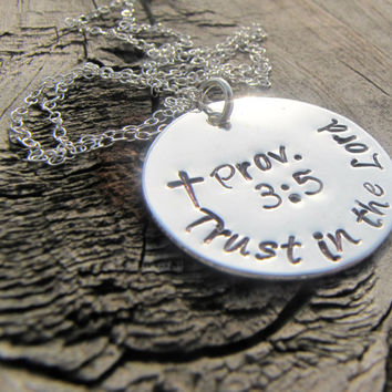 Personalized Christian Necklace - Trust in the Lord - Proverbs 3:5 Hand Stamped Necklace