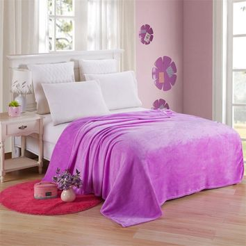 Cool Flannel Coral Fleece Blanket Polyester Solid Violet Bedspread Sheet Kids Children Baby Twin Full Queen King Plaid on The BedAT_93_12
