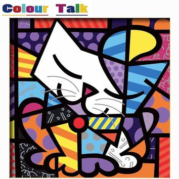 DIY Oil Painting By Numbers for Kids Room DIY Framed Pictures Animals Canvas Coloring By Numbers Home Wall Decoration Cat P-2355