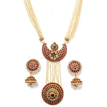 Temple jewelry - Unique statement multi stranded pearl chain kemp stone long necklace and jhumka earring set