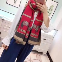 """Hermès"" Women Fashion Multicolor Horse Carriage Letter Pattern Shawl Scarf"