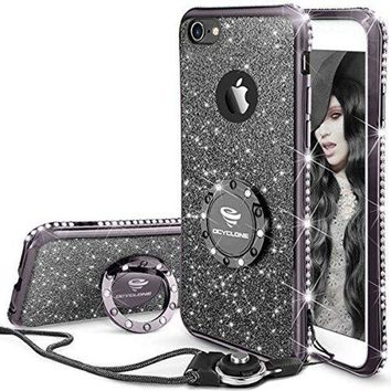 LMFMS6 iPhone 6 6s Case, Glitter Cute Phone Case Girls with Kickstand, Bling Diamond Rhinestone Bumper Ring Stand Clear Thin Soft Protective Sparkly Luxury Apple iPhone 6 6s Case for Girl Women - Mauve Black