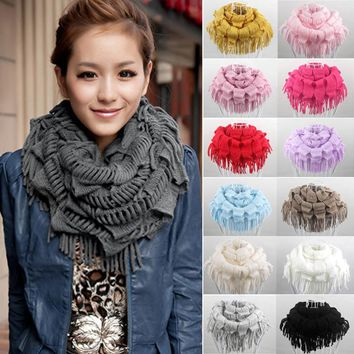 2017 High Quality Fashion Women Lady Winter Warm Knit Fringe Solid Color Tassel Neck Wrap Circle Snood Scarf Shawl Ring Scarf