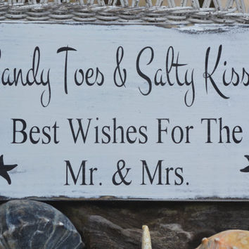 Beach Wedding - Beach Sign - Custom Beach Colors - Beach Decor - Guest Book - Wishes - Coastal Wedding - Painted, No Vinyl -  Rustic