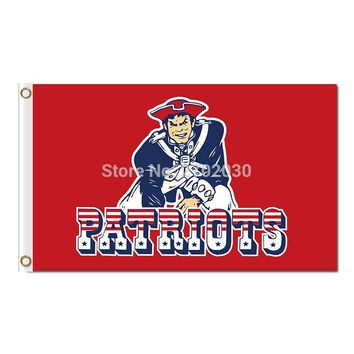 Cartoon New England Patriots Flag Red Football Banners 90 x 150cm Banner Super Bowl Champions Custom Flag 100D 2 Metal Grommets
