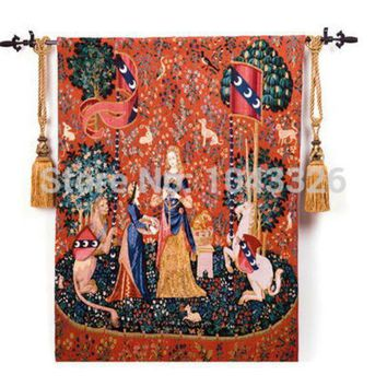 Belgium Medieval Art Woven Home Textile Unicorn Series Noblewoman 138*105cm Aubusson Wall Hanging Tapestry Pt 2