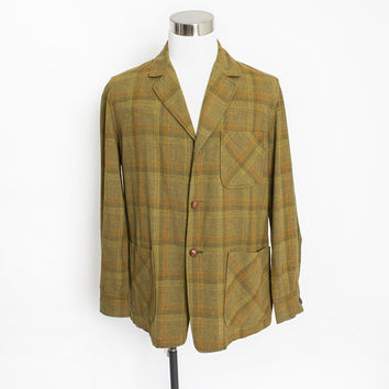 Vintage 1970s PENDLETON Jacket - Wool Plaid Green Orange Light weight 70s - < Medium