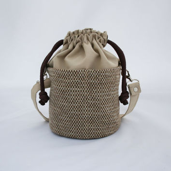 Small Beaudin Ditty Bag in Cafe - Drawstring Crossbody Bag -  Brown Tan Taupe - Canvas Sailcloth Boat Purse
