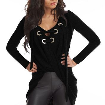 Black Lace Up Long Sleeve Ruched Pullover Shirt