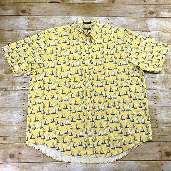 Nautica Sailboats All Over Print Yellow Short Sleeve Button Down Shirt Mens Size Large