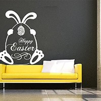 Happy Easter Wall Decals Bunny Egg Decal Decorations Vinyl Sticker Nursery Home Decor Cafe Restaurant Art Murals MS755