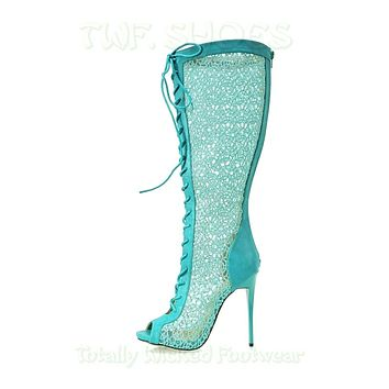 "Malace Teal Blue Lace Panel Open Toe 4.75""  High Heel Knee Boots 6-10"