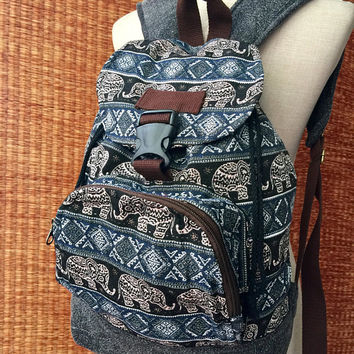 Boho Elephant Festival Backpack Tribal Aztec Bag Men Women Woven schooll Travel Tapestry Canvas backpack Native Ikat folk Gift for him