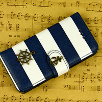 Anchor iphone 4 iphone 5 wallet case phone cases anchor iphone 5 iphone 4 flip case 4s rudder iphone 5s case stripe iphone 5c iphone 4s case