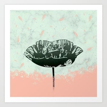 Beautiful Poppy Flower on Marble Design Art Print by oursunnycdays