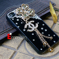 Black Chanel  Iphone 4 cases, Bling Iphone 4s cases,Iphone Coco chanel ,accept custom order for HTC ,Motorola,blackberry case