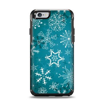 The Intricate Snowflakes with Green Background Apple iPhone 6 Otterbox Symmetry Case Skin Set