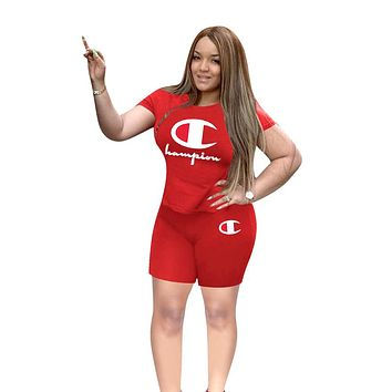 Champion tide brand women's short-sleeved shirt letter printing casual sports suit two-piece Red