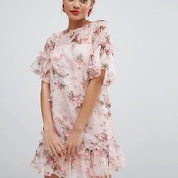 ASOS DESIGN Petite mini shift dress in pretty 3D floral at asos.com