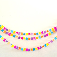 Bright Neon Sewn Paper Pennant Garland, Party Decoration, Perfect for Birthdays, Showers, Bridal Parties, Home Decor, Bedroom Garland