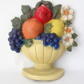 cast iron doorstop fruit basket wall hanging vintage retro boho door stopper