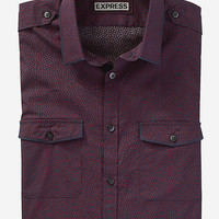 FITTED PRINTED MILITARY SHIRT from EXPRESS
