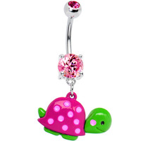 Pink Gem Polka Dot Shell Turtle Belly Ring | Body Candy Body Jewelry