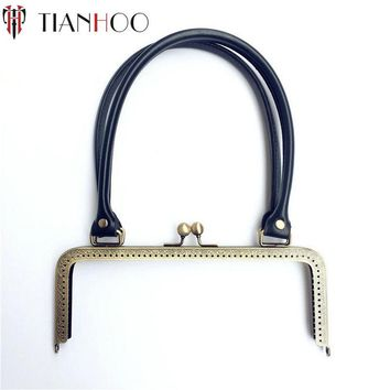 TIANHOO 5pcs 24cm Metal Clasp for Handbag Sew in Purse Frame Replacement PU Handle for DIY Clutch Bag Parts Accessories Hardware