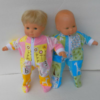 """American Girl Bitty Baby TWINS Pajamas Clothes 15"""" Doll Clothes  boy & girl Pink Yellow Blue Green Giraffe Print Flannel Zip Feetie Sleeper"""