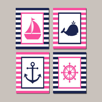 Nautical Nursery Decor Wall Art Hot Pink Navy Whale Anchor Sailboat Wheel Set of 4 Prints Or Canvas Boy Girl Bedroom Bathroom Decor Ocean