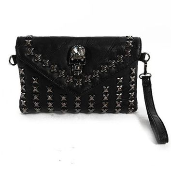 Skull Rivet Envelope Bag Genuine Sheepskin Leather Ladies Clutch Purses